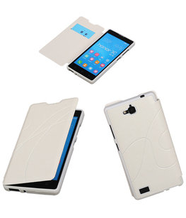 Bestcases Wit TPU Booktype Motief Hoesje voor Huawei Honor 3C