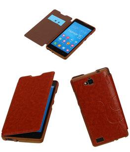 Bestcases Bruin TPU Booktype Motief Hoesje voor Huawei Honor 3C