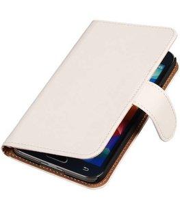 Hoesje voor Samsung Galaxy Alpha Effen Booktype Wallet Wit