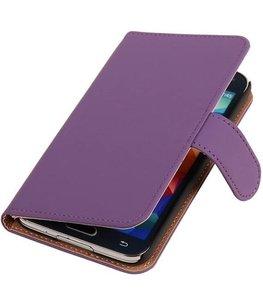 Hoesje voor Samsung Galaxy Alpha Effen Booktype Wallet Paars