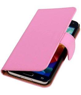 Hoesje voor Samsung Galaxy Alpha Effen Booktype Wallet Roze