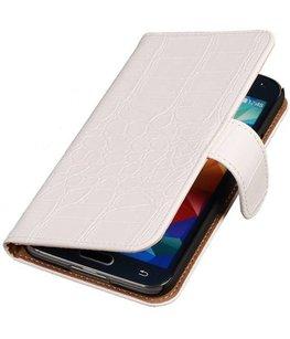 Hoesje voor Samsung Galaxy Alpha Croco Booktype Wallet Wit