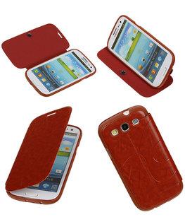 Bestcases Bruin TPU Booktype Motief Hoesje voor Samsung Galaxy S3