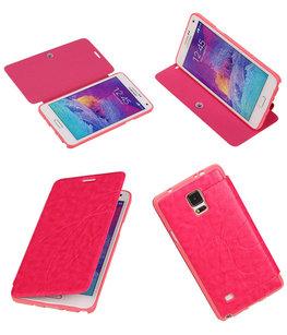 Bestcases Roze TPU Booktype Motief Hoesje voor Samsung Galaxy Note 4