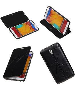 Bestcases Zwart TPU Booktype Motief Hoesje voor Samsung Galaxy Note 3 Neo