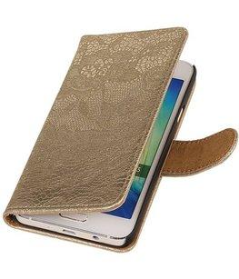 Hoesje voor Sony Xperia M4 Aqua Lace/Kant Booktype Wallet Goud