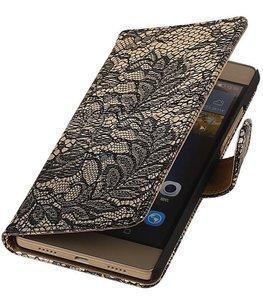 Hoesje voor Sony Xperia M4 Aqua Lace/Kant Booktype Wallet Zwart