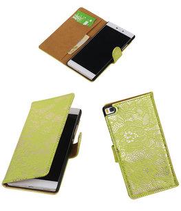 Huawei P8 Lace/Kant Booktype Wallet Hoesje Groen