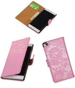 Hoesje voor Huawei P8 Lace/Kant Booktype Wallet Roze