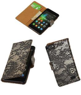 Hoesje voor Huawei Honor 4C Lace Booktype Wallet Zwart