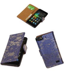 Hoesje voor Huawei Honor 4C Lace Booktype Wallet Blauw