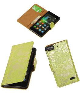 Hoesje voor Huawei Honor 4C Lace Booktype Wallet Groen