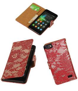 Hoesje voor Huawei Honor 4C Lace Booktype Wallet Rood