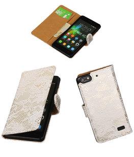 Hoesje voor Huawei Honor 4C Lace Booktype Wallet Wit
