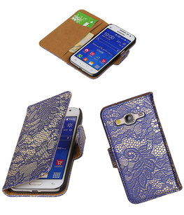 Hoesje voor Samsung Galaxy Core Prime G360F Lace Bookstyle Wallet Blauw