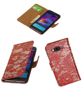 Hoesje voor Samsung Galaxy Grand Max Lace Booktype Wallet Rood