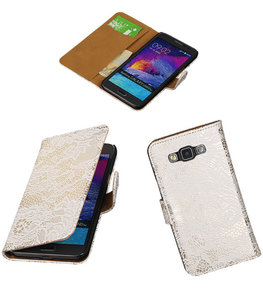 Hoesje voor Samsung Galaxy Grand Max Lace Booktype Wallet Wit