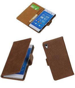 Hoesje voor Sony Xperia Z4/Z3 Plus Bark Hout Booktype Wallet Bruin