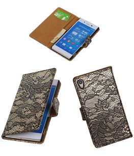 Hoesje voor Sony Xperia Z4/Z3 Plus Lace Kant Booktype Wallet Zwart