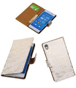 Hoesje voor Sony Xperia Z4/Z3 Plus Lace Kant Booktype Wallet Wit