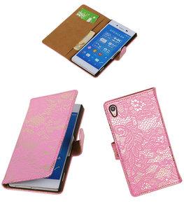 Hoesje voor Sony Xperia Z4/Z3 Plus Lace Kant Booktype Wallet Roze