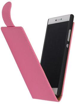 Roze Effen Classic Flipcase Hoesje voor Huawei P8