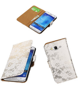 Hoesje voor Samsung Galaxy J7 2015 Lace Kant Booktype Wallet Wit