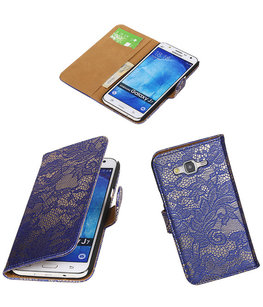 Hoesje voor Samsung Galaxy J7 2015 Lace Kant Booktype Wallet Blauw