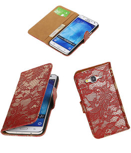 Samsung Galaxy J7 2015 Lace Kant Booktype Wallet Hoesje Rood