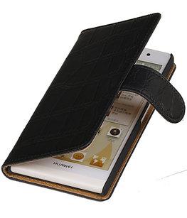 Hoesje voor Sony Xperia T3 Croco Booktype Wallet Zwart