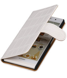 Hoesje voor Sony Xperia T3 Croco Booktype Wallet Wit