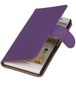 Hoesje voor Huawei Ascend Y330 Effen Booktype Wallet Paars