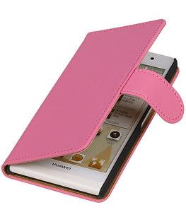 Hoesje voor Huawei Ascend Y330 Effen Booktype Wallet Roze