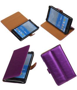 PU Leder Lila Hoesje voor Samsung Galaxy Tab 4 7.0 Stand Book/Wallet Case/Cover