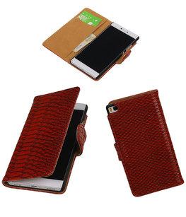 Hoesje voor Huawei P8 Snake Slang Booktype Wallet Rood