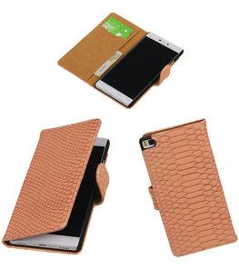 Hoesje voor Huawei P8 Snake Slang Booktype Wallet Roze
