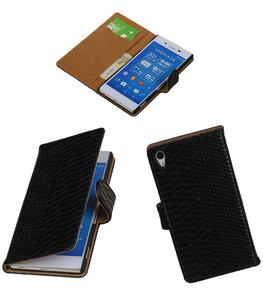 Hoesje voor Sony Xperia Z4 / Z3 Plus Snake Slang Booktype Wallet Zwart