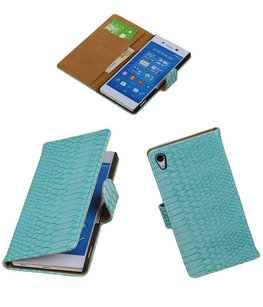 Hoesje voor Sony Xperia Z4 / Z3 Plus Snake Slang Booktype Wallet Turquoise