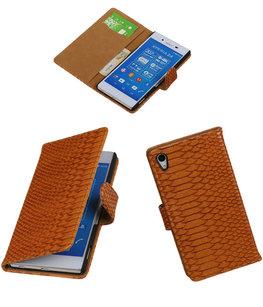 Hoesje voor Sony Xperia Z4 / Z3 Plus Snake Slang Booktype Wallet Bruin