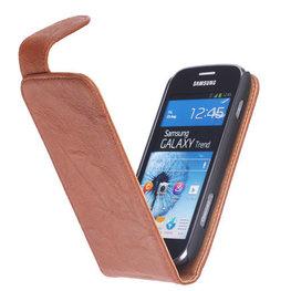 Polar Echt Lederen Hoesje voor Samsung Galaxy S Duos S7562 Flipcase Bruin
