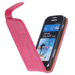 Polar Echt Lederen Hoesje voor Samsung Galaxy S Duos S7562 Flipcase Fuchsia
