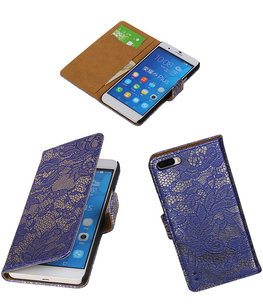 Hoesje voor Huawei Honor 6 Plus Lace Kant Booktype Wallet Blauw