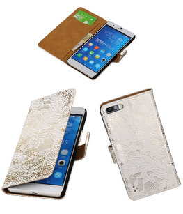 Hoesje voor Huawei Honor 6 Plus Lace Kant Booktype Wallet Wit