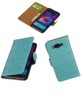 Hoesje voor Samsung Galaxy Grand Max Snake Booktype Wallet Turquoise