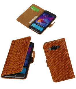 Hoesje voor Samsung Galaxy Grand Max Snake Booktype Wallet Bruin