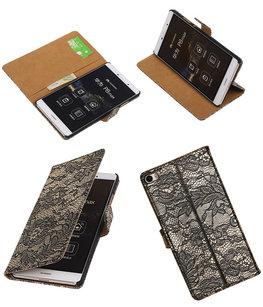 Hoesje voor Huawei P8 Max Lace Kant Booktype Wallet Zwart
