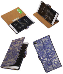 Hoesje voor Huawei P8 Max Lace Kant Booktype Wallet Blauw