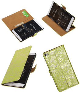 Hoesje voor Huawei P8 Max Lace Kant Booktype Wallet Groen