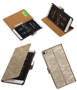 Hoesje voor Huawei P8 Max Lace Kant Booktype Wallet Goud