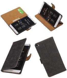 Hoesje voor Huawei P8 Max Bark Hout Booktype Wallet Grijs